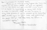 Thank you note from Cocoon Shelter to Organization for Women's Issues