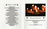 Program for ceremony of remembrance at 2016 Silent Witness unveiling
