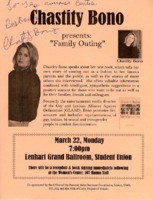Lecture flier for Chastity Bono
