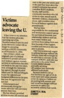 """Victims advocate leaving the U."""
