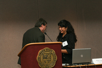 Albert Colom and Pola Lopez, keynote speaker, at the 16th Latino/a/x Issues Conference