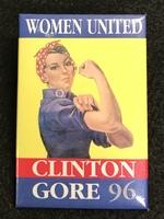 """Women United Clinton Gore 96"" Political Pin 1996"