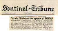 """""""Gloria Steinem to speak at BGSU"""""""