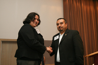Cristina Guttierez, LSU President and Political Action Chair, and Gabe Lomeli from BGSU