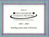 Membership certificate for the Ohio Domestic Violence Network
