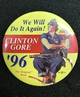 """We Will Do It Again! Clinton Gore '96"" Political Pin 1996"