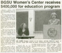 """BGSU Women's Center receives $400,000 for education program"""