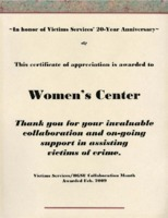 Certificate of appreciation awarded to Women's Center for support of crime victims