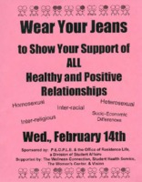 "Flier for ""Wear Your Jeans"" to show your support of all healthy and positive relationships"