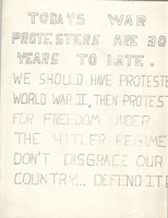 """Todays war protesters are 30 years to late"" flier"