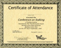 Certificate of attendance for conference on stalking