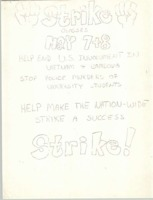 Flyer calling for a two-day strike of classes