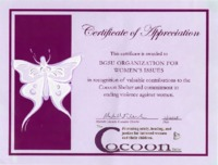 Certificate of appreciation awarded to BGSU Organization for Women's Issues by Cocoon Shelter